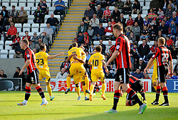 Bristol Rovers celebrate the opening goal - Mandatory byline: Neil Brookman/JMP - 07966 386802 - 03/10/2015 - FOOTBALL - Globe Arena - Morecambe, England - Morecambe FC v Bristol Rovers - Sky Bet League Two