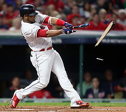 October 5, 2017 - Cleveland, OH, UKR - The Cleveland Indians' Edwin Incarnation breaks his bat in the first inning on a pitch by the New York Yankees' Sonny Gray in Game 1 of the American League Division Series on Thursday, Oct. 5, 2017, at Progressive Field in Cleveland. (Credit Image: © Phil Masturzo/TNS via ZUMA Wire)