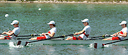 FISA World Cup Rowing Munich Germany..Photo Peter Spurrier 29/05/2004. Finals day...Men's eights M8+ CAN [layed back style]. Rowing Course, Olympic Regatta Rowing Course, Munich, Germany [Mandatory Credit: Peter Spurrier: Intersport Images].