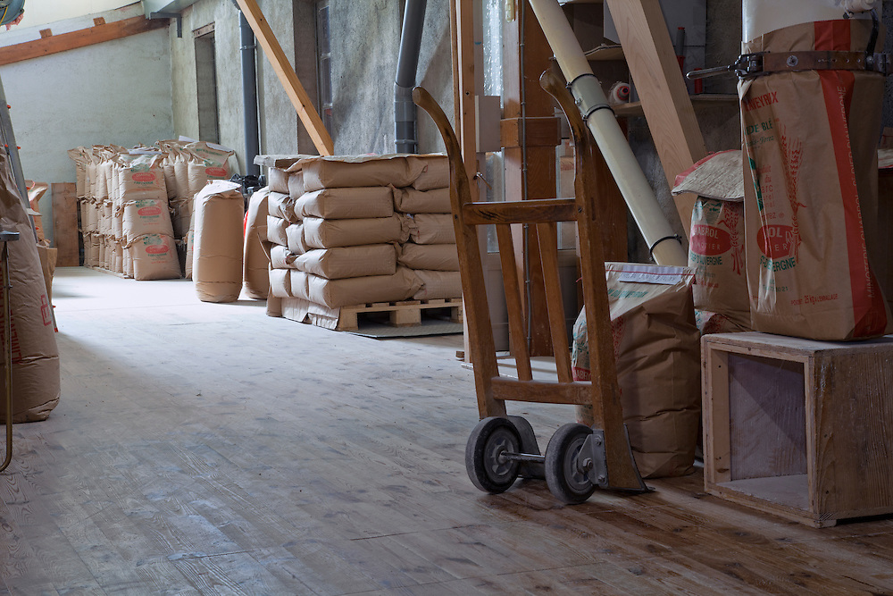 Old traditional flour mill warehouse in Regional Park the Livradois-Forez, St. Dier d'Auvergne, Auvergne, France