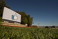 The Facebook sign outside the new company headquarters in Menlo Park, CA on Friday, April 20, 2012. Photo by Erin Lubin
