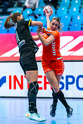 Lois Abbingh of Netherlands, Xenia Smits of Germany in action during the Women's EHF Euro 2020 match between Netherlands and Germany at Sydbank Arena on december 14, 2020 in Kolding, Denmark (Photo by RHF Agency/Ronald Hoogendoorn)