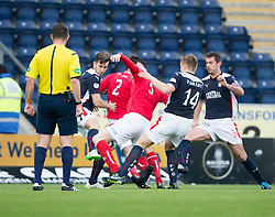 Falkirk's Peter Grant brings down Brechin City's Gerry McLauchlan for a penalty. <br /> Falkirk 2 v 1 Brechin City, Scottish Cup fifth round game played today at The Falkirk Stadium.