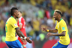 MOSCOW, June 27, 2018  Paulinho (L) of Brazil celebrates scoring with Neymar during the 2018 FIFA World Cup Group E match between Brazil and Serbia in Moscow, Russia, June 27, 2018. (Credit Image: © Cao Can/Xinhua via ZUMA Wire)