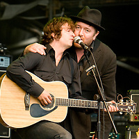 Guy Garvey joins I Am Kloot on stage during their set supporting Elbow as part of the Forest Tour 2008, at Delamere Forest, Cheshire, UK 2008-06-14