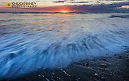 Sunrise over the North Atlantic Ocean at Jokulsarlon, Iceland