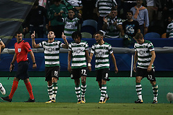 October 31, 2017 - Lisbon, Portugal - Sporting's forward Bruno Cesar (2nd L)  celebrates his goal with his teammates during Champions League 2017/18 match between Sporting CP vs Juventus FC, in Lisbon, on October 31, 2017. (Credit Image: © Carlos Palma/NurPhoto via ZUMA Press)
