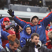 New York Giants fans react to a television camera during the New York Giants V San Francisco 49ers, NFL American Football match at MetLife Stadium, East Rutherford, NJ, USA. 16th November 2014. Photo Tim Clayton