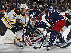 October 30, 2017 - Columbus, OH, USA - Columbus Blue Jackets goalie Sergei Bobrovsky (72) watches the puck against Boston Bruins left wing Kenny Agostino (18) and Columbus Blue Jackets defenseman Jack Johnson (7) during the second period of their NHL game at Nationwide Arena in Columbus, Ohio on Oct. 30, 2017. (Credit Image: © Kyle Robertson/TNS via ZUMA Wire)