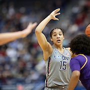HARTFORD, CONNECTICUT- JANUARY 4: Gabby Williams #15 of the Connecticut Huskies defended by Dominique Claytor #23 of the East Carolina Lady Pirates during the UConn Huskies Vs East Carolina Pirates, NCAA Women's Basketball game on January 4th, 2017 at the XL Center, Hartford, Connecticut. (Photo by Tim Clayton/Corbis via Getty Images)