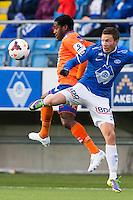Treningskamp fotball 2014: Molde - Aalesund.  Aalesunds Tramaine Julio Stewart (t.v.) i duell med Martin Linnes i treningskampen mellom Molde og Aalesund på Aker stadion.