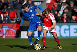 Leicester City's Bartosz Kapustka (left) and Fleetwood Town's Kyle Dempsey battle for the ball during the FA Cup, third round match at Highbury Stadium, Fleetwood