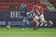 AFC Wimbledon midfielder Scott Wagstaff (7) dribbling during the EFL Sky Bet League 1 match between Charlton Athletic and AFC Wimbledon at The Valley, London, England on 15 December 2018.
