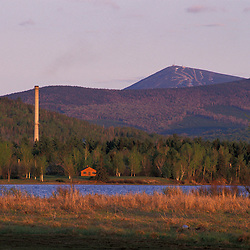 Eustis, ME.  A biomass energy plant, clear cuts, and the Sugarloaf Mountain ski area.  Dead River.  Northern Forest.