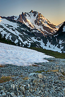 Sunset over NE face of Mount Shuksan (9131 feet, 2783 meters) with view of the Price Glacier, North Cascades Washington  beauty in nature