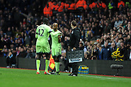 Fabian Delph of Man city comes on as a replacement for Yaya Toure.  Barclays Premier league match, Aston Villa v Manchester city at Villa Park in Birmingham, Midlands  on Sunday 8th November 2015.<br /> pic by  Andrew Orchard, Andrew Orchard sports photography.