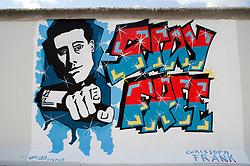 "Detail of newly repainted mural ""Stay Free"" on Berlin Wall at East Side Gallery in Berlin 2009"