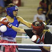 2. WOMEN'S WORLD BOXING CHAMPIONSHIPS.<br /> Swede's Laurel Anna (L) with BLR's Slavinskaia Olga (R). Dilek Sabanci Sport Hall Antalya/Turkey<br /> Photo by Aykut AKICI/TurkSporFoto