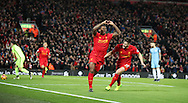 Georginio Wijnaldum of Liverpool celebrates scoring during the English Premier League match at Anfield Stadium, Liverpool. Picture date: December 31st, 2016. Photo credit should read: Lynne Cameron/Sportimage