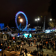 London, England, UK. 31 Dec 2019. 2019 London's New Year's Eve fireworks at London, Eye at the Embankment.