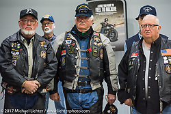 J and L Harley-Davidson just before the unveiling of a 2018 Harley-Davidson Street Glide donated by the Motor Company and customized by J and L to commemorate the christening of the USS South Dakota submarine. Sioux Falls, SD. USA. Monday October 9, 2017. Photography ©2017 Michael Lichter.