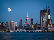 The view of The Empire State Building, New York City from Weehawken Park, NJ