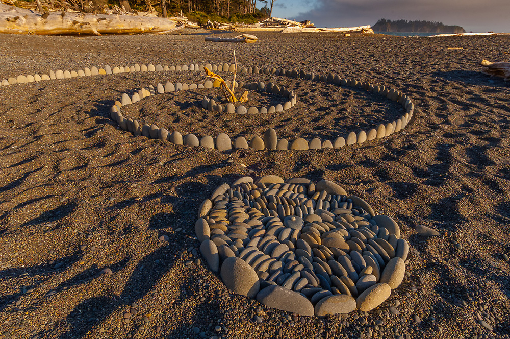 Stone spirals assembled on Rialto Beach, afternoon light, July, Pacific Ocean, Olympic National Park, Clallam County, Washington, USA