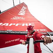 Leg 02, Lisbon to Cape Town, day 18, on board MAPFRE, Antonio Cuervas-Mons trimming. Photo by Ugo Fonolla/Volvo Ocean Race. 22 November, 2017