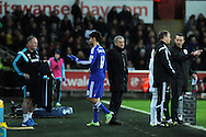 Diego Costa of Chelsea walks past his manager Jose Mourinho after he is replaced late in the 2nd half.Barclays Premier League match, Swansea city v Chelsea at the Liberty Stadium in Swansea, South Wales on Saturday 17th Jan 2015.<br /> pic by Andrew Orchard, Andrew Orchard sports photography.