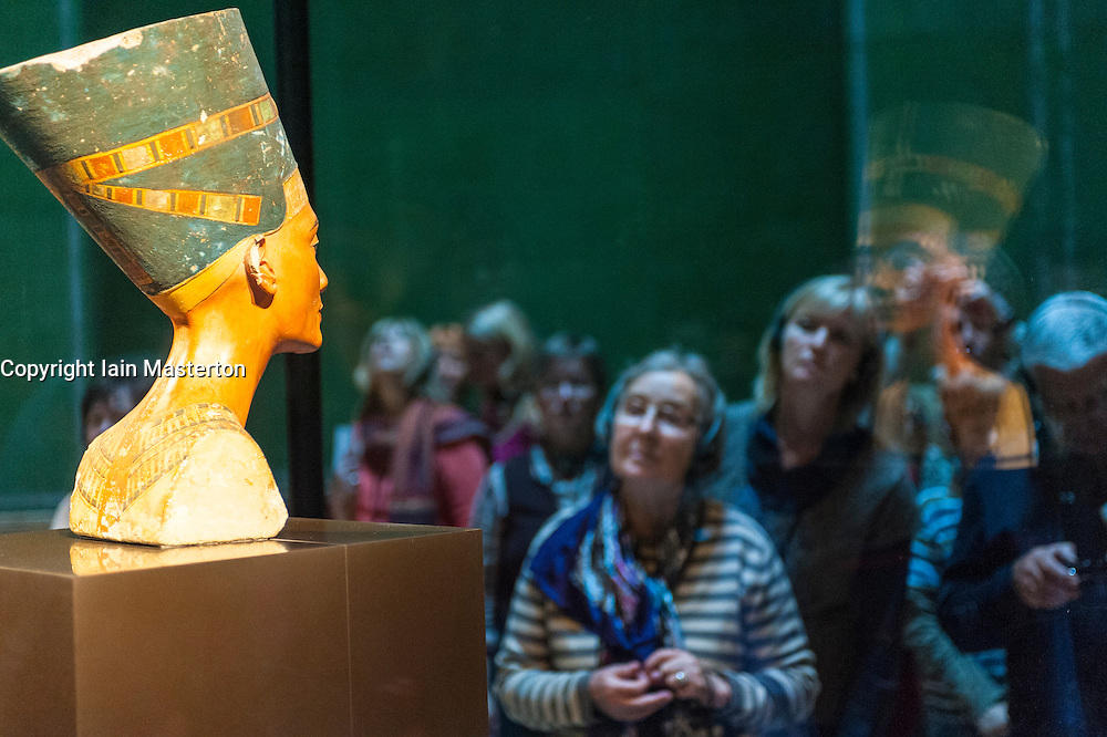 Statue of Nefertiti on display in museum