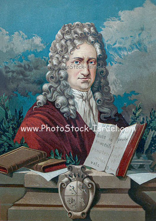 Gottfried Wilhelm (von) Leibniz (Leibnitz) (1 July 1646 – 14 November 1716) was a prominent German polymath and one of the most important logicians, mathematicians and natural philosophers of the Enlightenment. From the book La ciencia y sus hombres : vidas de los sabios ilustres desde la antigüedad hasta el siglo XIX T. 3  [Science and its men: lives of the illustrious sages from antiquity to the 19th century Vol 3] By by Figuier, Louis, (1819-1894); Casabó y Pagés, Pelegrín, n. 1831 Published in Barcelona by D. Jaime Seix, editor , 1879 (Imprenta de Baseda y Giró)
