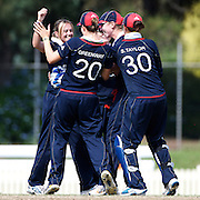 England celebrate another New Zealand wicket during the match between England and New Zealand in the Super 6 stage of the ICC Women's World Cup Cricket tournament at Bankstown Oval, Sydney, Australia on March 14 2009, England won the match by 31 runs. Photo Tim Clayton
