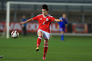Angharad James of Wales in action. Friendly International Womens football, Wales Women v Republic of Ireland Women at Rodney Parade in Newport, South Wales on Friday 19th August 2016.<br /> pic by Andrew Orchard, Andrew Orchard sports photography.