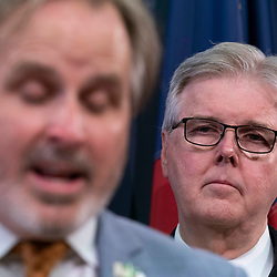 Texas Lt. Gov. Dan Patrick, a Republican, offers a rebuttal to Democratic senators who fled to Washington, D.C. supporting their quorum-busting House colleagues and returned to Austin on July 21, 2021.