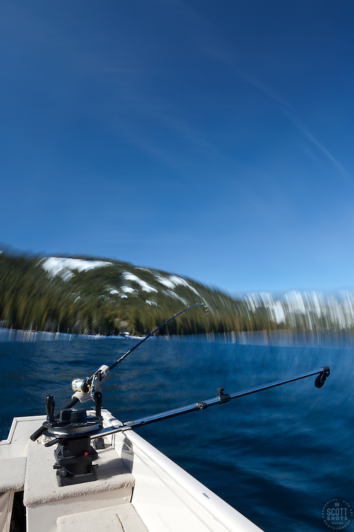 """""""Fishing Pole at Lake Tahoe 8"""" - Photograph of a fishing pole on Lake Tahoe, CA. The seasick motion effect was achieved by using a tripod on the moving boat with a long exposure."""