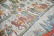 Hunters making a sacrifice to the goddess Diana from the Room of The Small Nunt, no 25 - Roman mosaics at the Villa Romana del Casale which containis the richest, largest and most complex collection of Roman mosaics in the world, circa the first quarter of the 4th century AD. Sicily, Italy. A UNESCO World Heritage Site. .<br /> <br /> If you prefer to buy from our ALAMY PHOTO LIBRARY  Collection visit : https://www.alamy.com/portfolio/paul-williams-funkystock/villaromanadelcasale.html<br /> Visit our ROMAN MOSAICS  PHOTO COLLECTIONS for more photos to buy as buy as wall art prints https://funkystock.photoshelter.com/gallery/Roman-Mosaics-Roman-Mosaic-Pictures-Photos-and-Images-Fotos/G00008dLtP71H_yc/C0000q_tZnliJD08