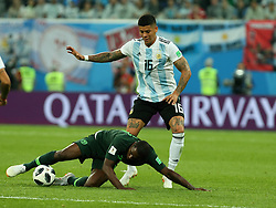 June 26, 2018 - St. Petersburg, Russia - June 26, 2018, Russia, St. Petersburg, FIFA World Cup 2018, First round, Group D, Third round. Football match of Nigeria - Argentina at the stadium of St. Petersburg. Player of the national team Marcos Rojo (Credit Image: © Russian Look via ZUMA Wire)