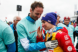 Stefan Kraft (AUT) with Heinz Kuttin of Austria during trophy ceremony after Ski Flying Hill Men's Individual Competition at Day 4 of FIS Ski Jumping World Cup Final 2017, on March 26, 2017 in Planica, Slovenia. Photo by Grega Valancic / Sportida