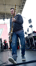 March 20, 2018 - Fontana, CA, USA - Musician - COREY BRITZ, bassist for the band BUSH performing live on stage before the start of the NASCAR Auto Club 400, Auto Club Speedway, Fontana, California, USA, March 19, 2018.  ..Credit Image  cr  Scott Mitchell/ZUMA Press (Credit Image: © Scott Mitchell via ZUMA Wire)