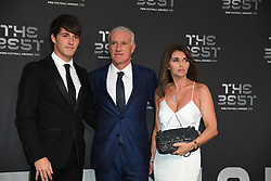 Didier Deschamps, his wife Claude and his son Dylan arrive to the Best FIFA Football Awards 2018 at the Royal Festival Hall, London, UK, on September 24, 2018. Photo by Christian Liewig/ABACAPRESS.COM