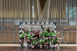 Team RK Olimpija celebrate during handball match between RK Olimpija and RK Krim Mercator in Round #13 of National Youth League in Season 2020-21, on May 23, 2021 in Hala Tivoli, Ljubljana, Slovenia. Photo by Matic Klansek Velej / Sportida