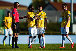 Ovbokha Agboyi of NK Bravo with Almin Kurtovic of NK Bravo and Rok Maher of NK Bravo during football match between NK Bravo and NK Koper in 4th Round of Prva liga Telekom Slovenije 2020/21, on September 19, 2020 in Sport park ZAK, Ljubljana, Slovenia. Photo by Grega Valancic / Sportida