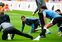 Football - 2021 / 2022 - Pre-Season Friendly - Newcastle United vs Norwich City - St James Park - Saturday 7th August 2021<br /> <br /> Miguel Almiron of Newcastle United is seen during the warm up<br /> <br /> Credit: COLORSPORT/Bruce White