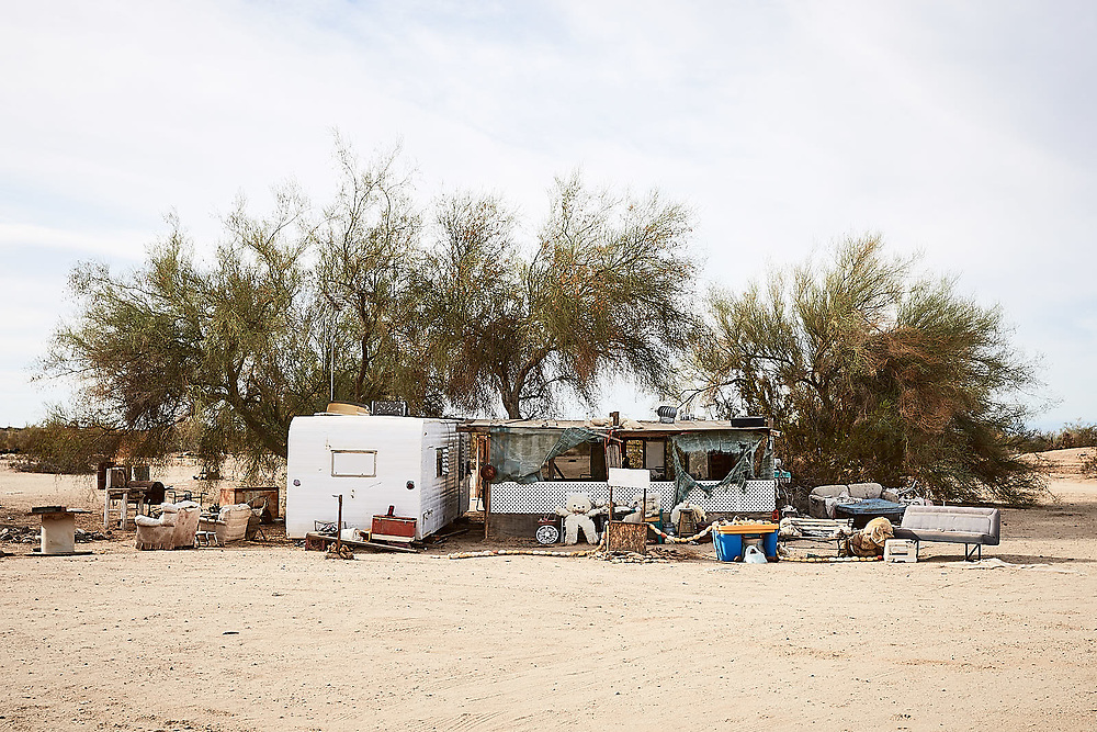 California lifestyle and adventure photographer Raymond Rudolph works on a documentary project in Slab City, the last free place in America