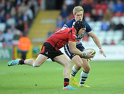 Bristol Rugby's Charlie Amesbury chases down Jersey Rugby's Drew Locke - Photo mandatory by-line: Dougie Allward/JMP - Mobile: 07966 386802 - 17/04/2015 - SPORT - Rugby - Bristol - Ashton Gate - Bristol Rugby v Jersey - Greene King IPA Championship