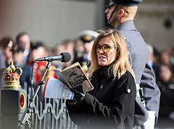 © Licensed to London News Pictures. 11/11/2019. London, UK. Singer and musician Cerys Matthews reads a poem at a service is held at The Cenotaph in central London on Remembrance Day. On the eleventh hour of the eleventh day of the eleventh month a silence is held to commemorate the time the armistice signed between the Allies and Germany in World War One, to remember those who have died in conflict. Photo credit: Ben Cawthra/LNP