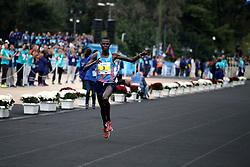 November 12, 2017 - Athens, Attica, Greece - Samuel Kalalei of Kenya enters the Panathenaic stadium and wins the 35th Athens Classic Marathon in Athens, Greece, November 12, 2017. (Credit Image: © Giorgos Georgiou/NurPhoto via ZUMA Press)