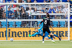 June 13, 2018 - San Jose, CA, U.S. - SAN JOSE, CA - JUNE 13: New England Revolution Goalkeeper Matt Turner (30) can't get his body in front of the powerful strike of San Jose Earthquakes Forward Danny Hoesen (9) during the MLS game between the New England Revolution and the San Jose Earthquakes on June 13, 2018, at Avaya Stadium in San Jose, CA. The game ended in a 2-2 tie. (Photo by Bob Kupbens/Icon Sportswire) (Credit Image: © Bob Kupbens/Icon SMI via ZUMA Press)
