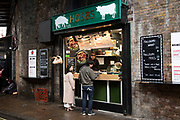 Hobbs traditional hog roast kiosk at Borough Market on 27th November 2019 in London, England, United Kingdom. Michael Hobbs, together with his wife Julie, opened Hobbs Meat Roast towards the end of the last century, became a favourite at the market.