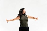 Pushing energy away woman movement energy work